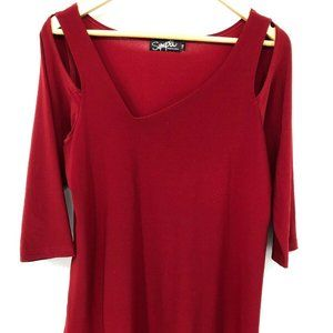 Sympli Womens Red Blouse Lagenlook Pullover 10XL
